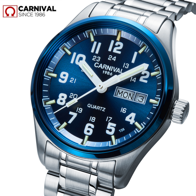 Карнавал Элитный бренд часы Для мужчин кварцевые Для мужчин часы тритий световой часы мужской Водонепроницаемый Военная reloj hombre C8638G-3