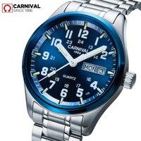Carnival Luxury Brand Watch Men Quartz Men Watches Tritium Light Luminous Watch Male Waterproof Military Reloj