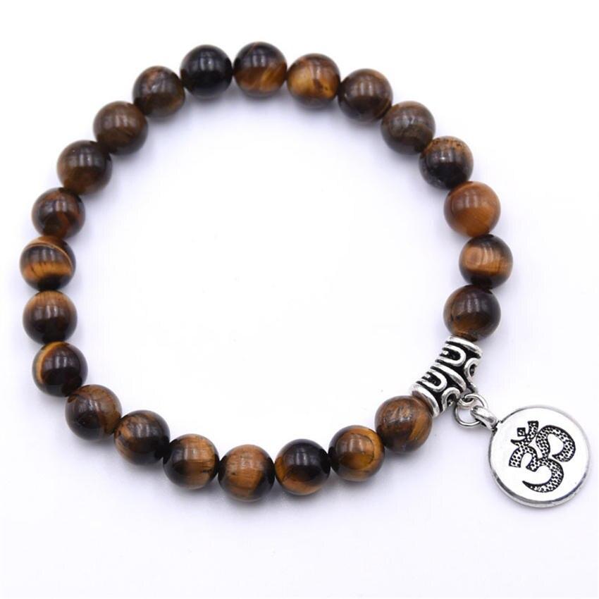 Natural Stone Strand Bracelet Yoga Chakra Mala Bracelet OM Lotus Women Men Beaded Charm Bracelet Jewelry Pulseras dropshipping - Окраска металла: ZT110-18