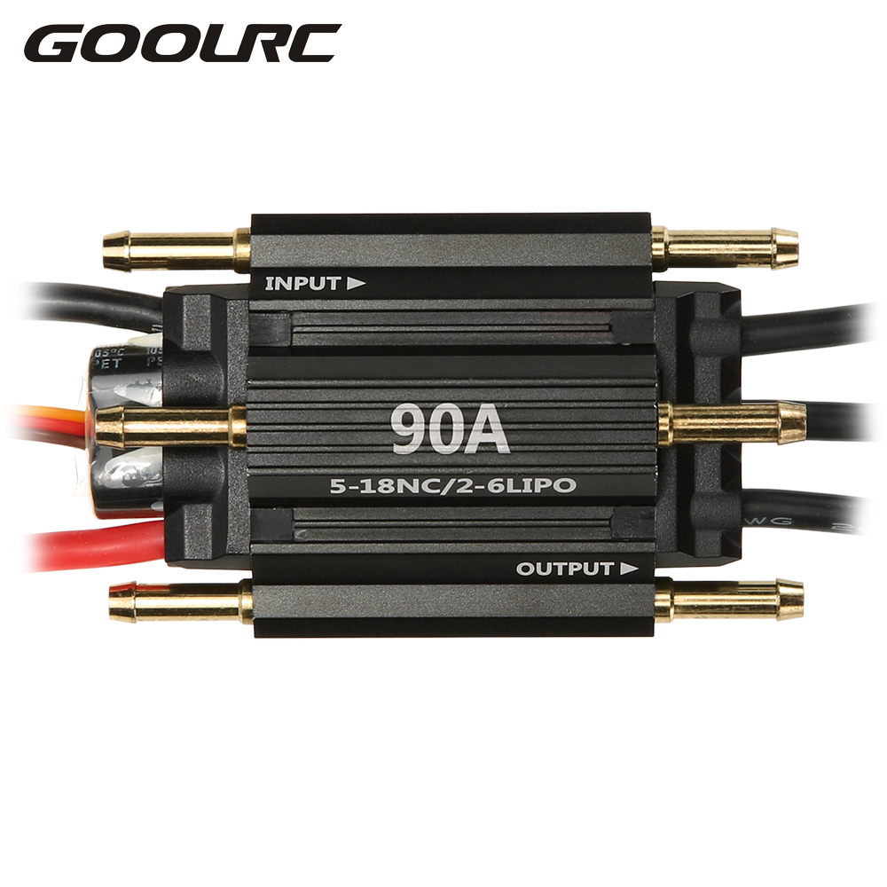 GOOLRC Original 90A Waterproof Brushless Electronic Speed Controller ESC with 5.5V/3A BEC for RC Boat h625 pnp spike fiber glass electric racing speed boat deep vee rc boat w 3350kv brushless motor 90a esc servo green