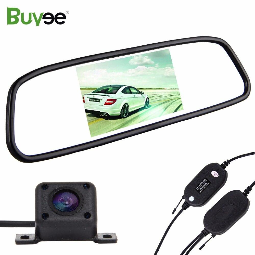 Buyee sans fil 4.3 ''Auto voiture TFT LCD miroir moniteur + HD IR 4 LED voiture vue arrière caméra véhicule caméra kit voiture accessoire