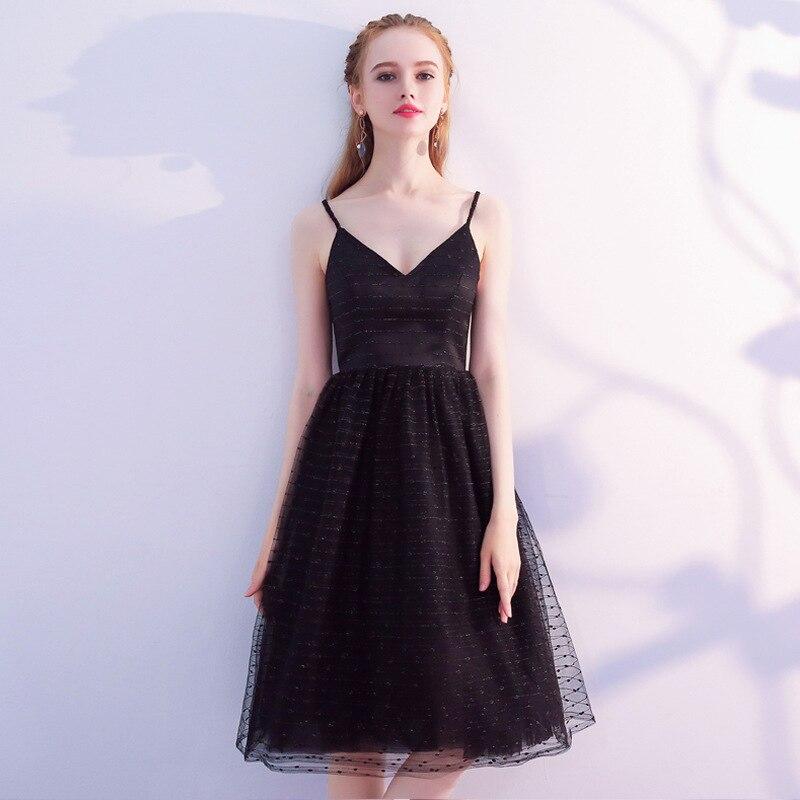 Elegant Black V-neck Shiny Lace   Bridesmaid     Dresses   2019 Simple Knee Length Party   Dresses   Short Robe De Soiree