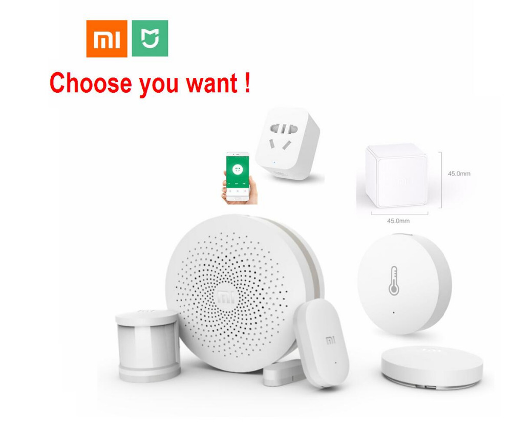 Xiaomi Smart Home Kit Mijia Gateway Pintu Window Human Body Sensor Suhu Kelembapan Sensor Wireless Switch Zigbee Socket Cube
