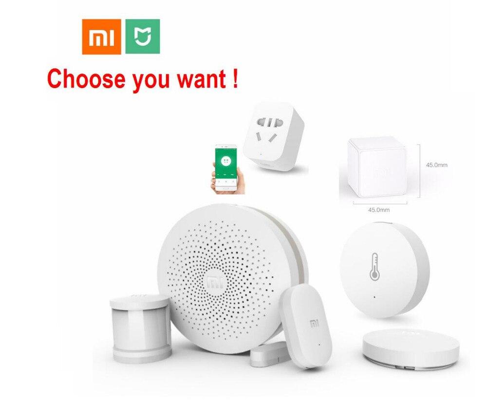 Xiaomi inteligente Kit de Casa Mijia puerta de entrada puerta de la ventana del Sensor de cuerpo humano de temperatura y humedad Sensor de interruptor inalámbrico Zigbee hembra cubo