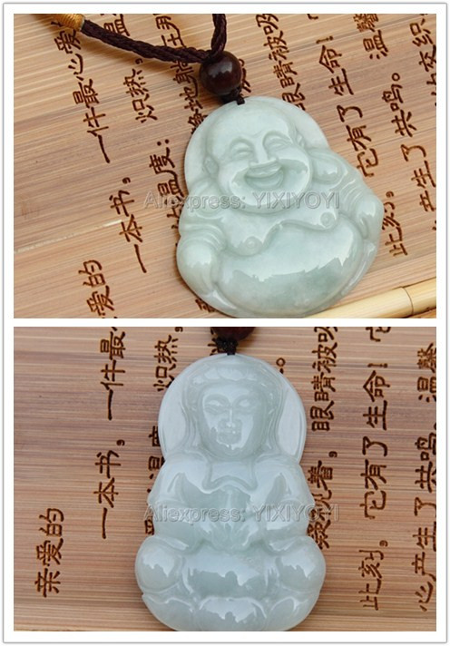 Pretty Handwork Natural Light Green Grade A Jadeite Buddha GuanYin Lucky Amulet Pendant + Free Necklace Certificate Fine Jewelry wonderful handwork natural grade a green jadeite carved turtle crane lucky amulet pendant free necklace certificate jewelry