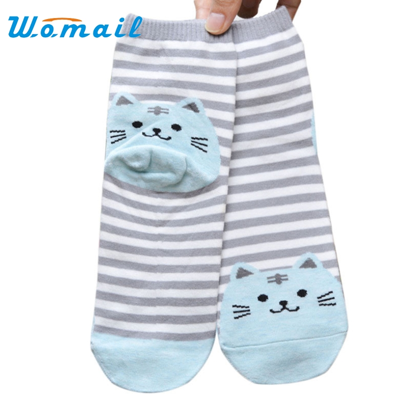 Womail 2017 Fashion Cartoon Socks Women Cat Footprints 3D Animals Striped Warm Cotton Socks Lady Floor meias Socks for Fema