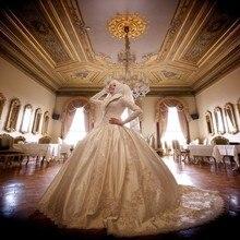 2017 Muslim Wedding Dresses Incredible Fancy Taffeta Appliques Beading Long Sleeves Bridal Dresses Ball Gown Vestido De Boda