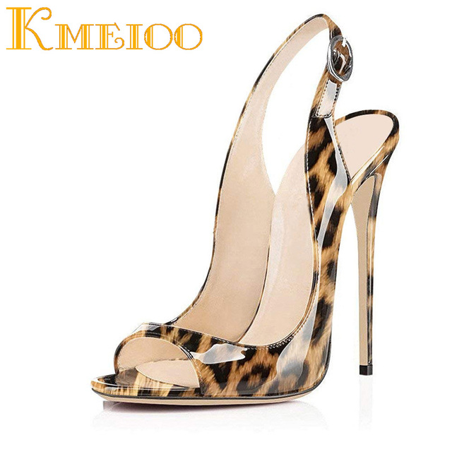 Kmeioo 2018 Hot Sale Sexy Ladies Shoes Leopard Pumps Peep Toe High Heels  Slip-on Slingback Stiletto Party Wedding Evening Shoes bb48983ce3ef