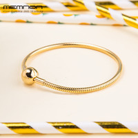 Memnon 2018 New spring Moments Smooth Shine Clasp bracelets silver snake chain fit 925 sterling silver charms beads DIY YL076