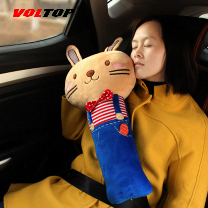 VOLTOP Cartoon Animal Car Seat Belts Pad Pillow Neck Head Rest Safety Support Shoulder Pad Protective Cotton Women Auto Supplies