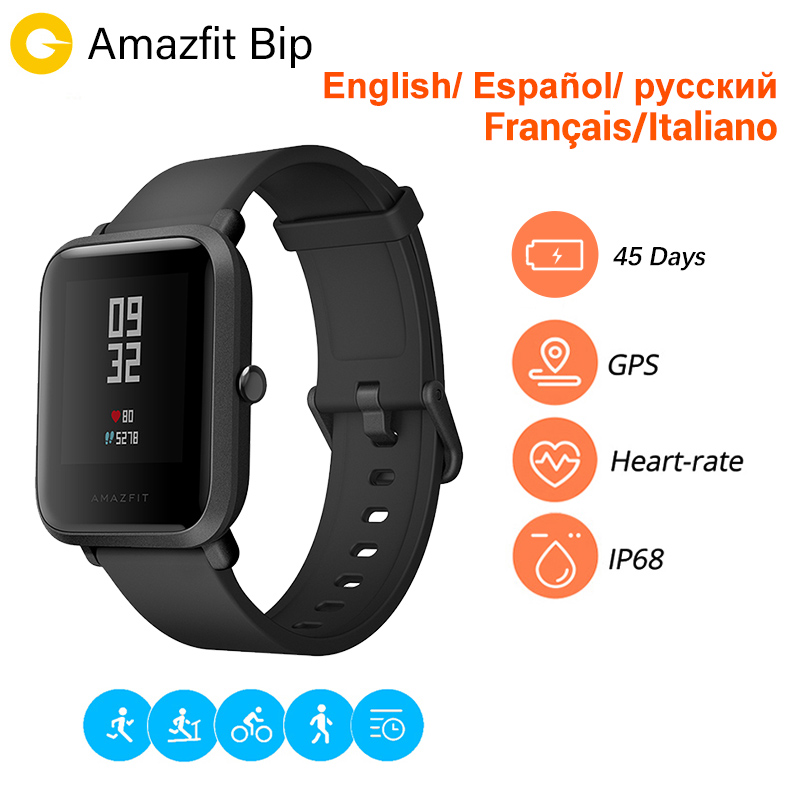 Huami Amazfit Bip Men Women Smar Watch [Español] Amazfit Youth Edition Spanish Version GPS reloj inteligente Bluetooth deportespantalla 45 días batería espera IP68 impermeable