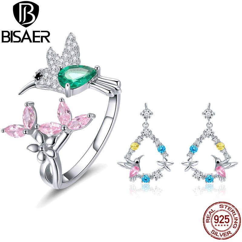BISAER 925 Sterling Silver Jewelry Set Bird Hummingbirds Greeting Flower Color CZ Jewelry Sets for Women Silver 925 Jewelry