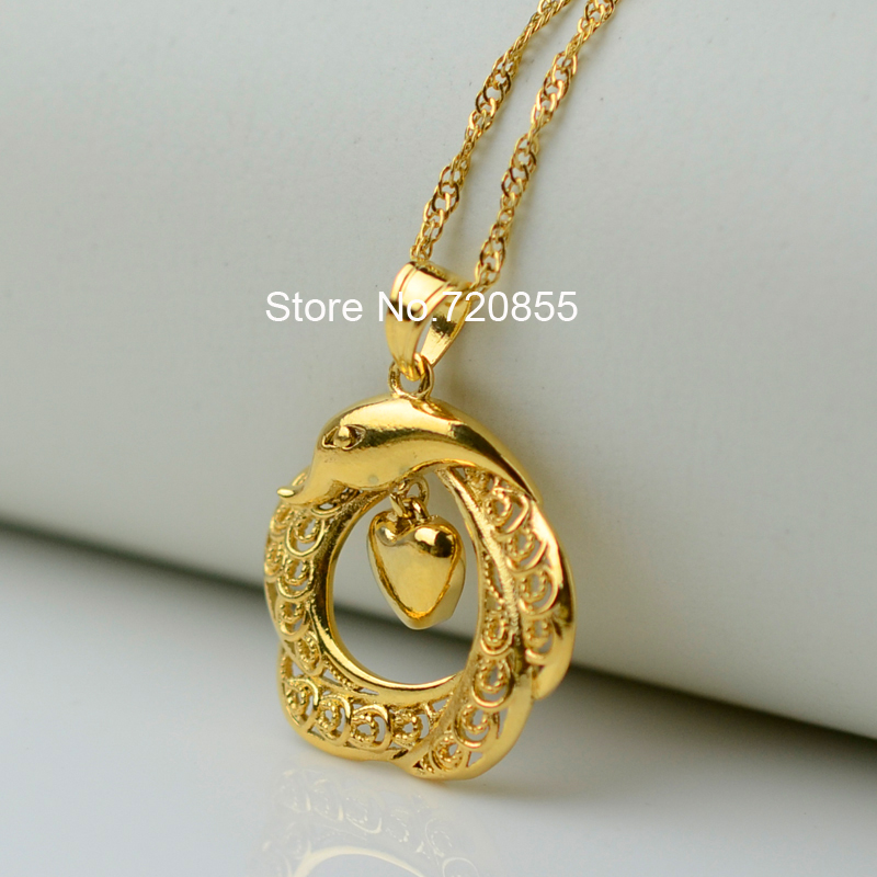 Anniyo Charm Heart Dolphin Pendants Necklaces for Women Gold Color ...