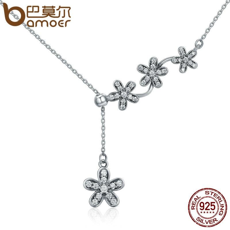 BAMOER Hot Sale 925 Sterling Silver Luminous Daisy Flower Tassel Daisy Pendant Necklace Women Sterling Silver Jewelry SCN178 bamoer 925 sterling silver