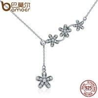 BAMOER Hot Sale 925 Sterling Silver Luminous Daisy Flower Tassel Daisy Pendant Necklace Women Sterling Silver