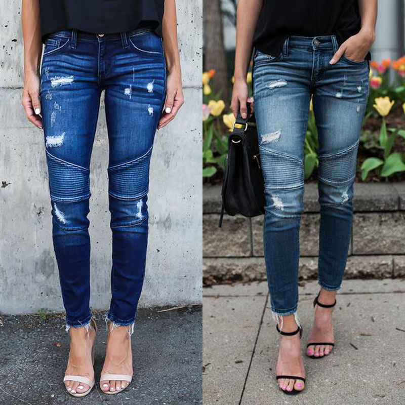 Women Denim Skinny Pants Ripped Destroyed Pleated Stretch Jeans Slim Pencil Trousers 9