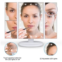 Makeup Mirror 22 LED Lighted With Touch Screen Magnification Magnifying Spot Foldable 180 Adjustable Stand For Bathroom