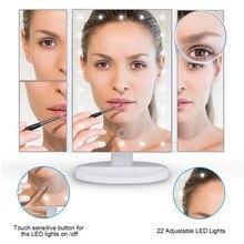 Зеркало для макияжа 22 светодио дный Освещенные с Сенсорный экран увеличение увеличительное месте складной 180 Регулируемая подставка для Ванная комната