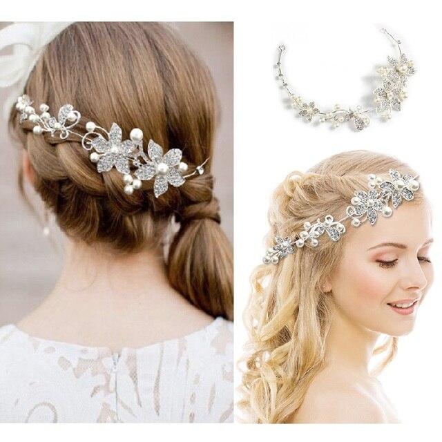 Ślubna ozdoba na głowę imitacja perły akcesoria do włosów dla panny młodej kryształowa korona kwiatowa elegancka ozdoba do włosów ozdoby spinka do włosów prezenty