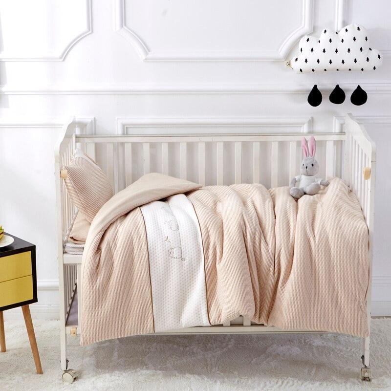 Kitty Кофе Цвет 7 шт. Постельное белье для кроватки для новорожденных Для для девочек и мальчиков Съемная cot Простыни Стёганое одеяло Подушки Д...
