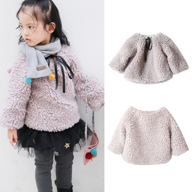 84467c171f0da Baby Girls Jackets Warm Wool Hairy Coat Cute Toddler Girls Jacket Outerwear  party birthday Christmas girls clothes