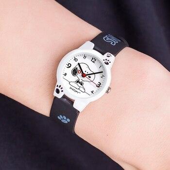 ساعة يد للأطفال ماركة سنوبي ، ساعات يد للأولاد مزودة بحزام مرسوم عليها رسوم متحركة ، ساعات يد كوارتز أنيقة غير رسمية مقاومة للماء