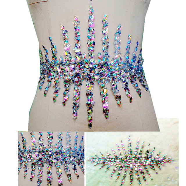 1816dcc218 US $20.79  bi.Dw.M AB Beaded Rhinestone Appliques and Patch Stones and  Crystals For Sewing Wedding Dress Waist Belt 23x35cm Decoration -in Patches  ...