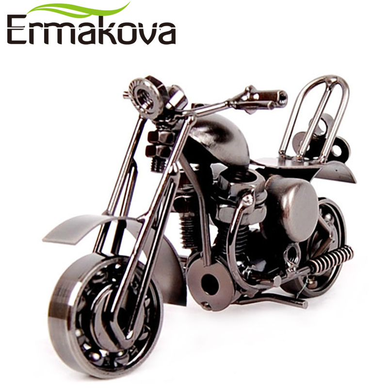 "ERMAKOVA 14cm (5.5 "") Vintage Motorcycle Model Retro Motor Figurine Iron Motorno Prop Handmade Boy Darilo Kid Igrače Home Office Dekor"