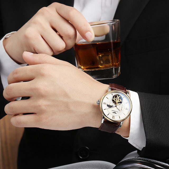 2018 moda guanqin masculino relógios de luxo marca superior esqueleto relógio masculino esporte couro tourbillon automático relógio pulso mecânico 5