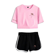 SHAWN MENDES Short Exposed Navel pink T shirt+ black Short Pants casual women's sets Summer clothing Pop Women's two-piece sets