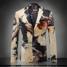 European and American style personality graffiti print men blazer 2016 New arrival fashion exquisite high-end blazer men M-XXXL