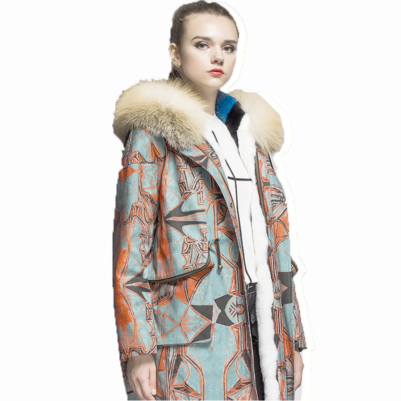 Printed Long Raccoon Fur Collar Coat Women Winter Real Rabbit Fur Liner Hooded Jacket Women Bomber Parka Female Ladies FP892 2017 winter new clothes to overcome the coat of women in the long reed rabbit hair fur fur coat fox raccoon fur collar