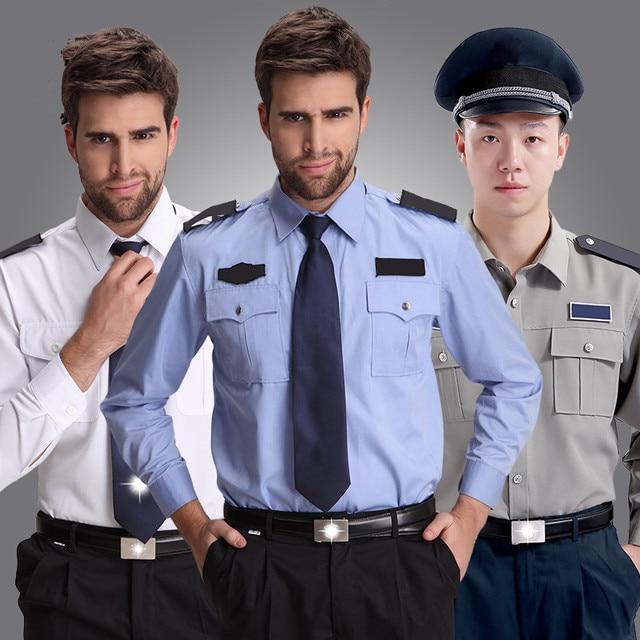 Ropa de trabajo del personal de la puerta del Hotel, uniforme de seguridad blanco de manga larga para hombre, de estilo británico uniformes de trabajo, chaquetas de regalo envío gratis