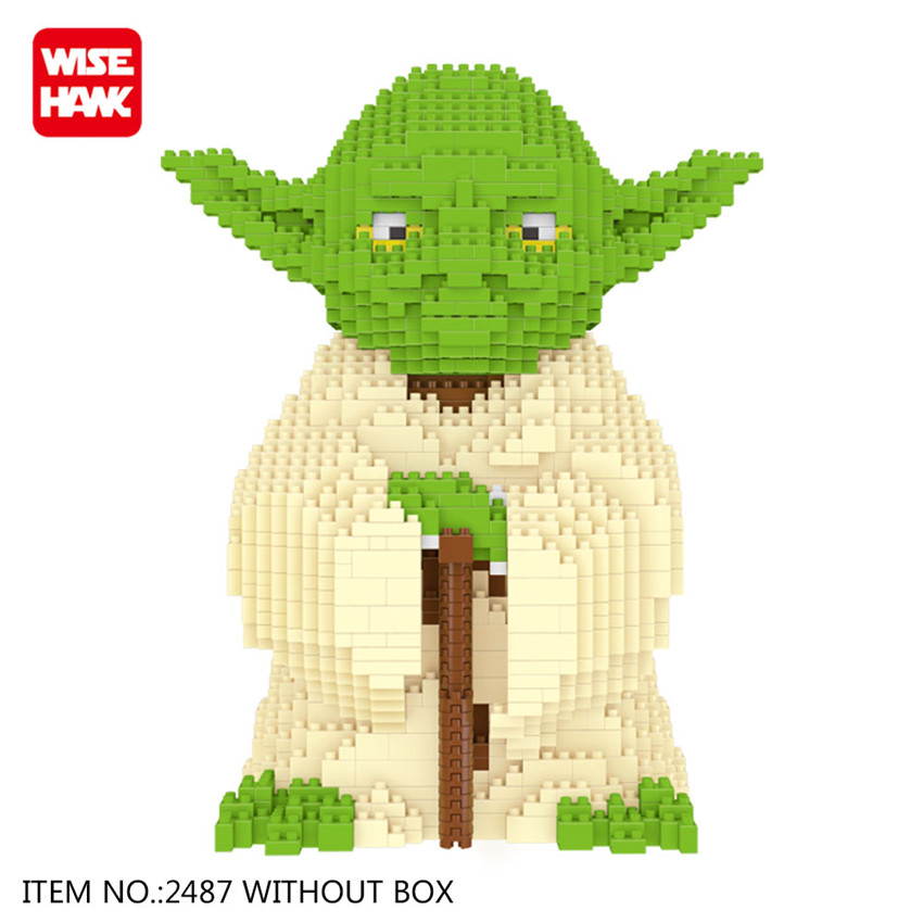 WiseHawk Nano Star Wars Yoda Building Blocks Big Size Characters Figure Educational Toys DIY Assembly Micro Brick Christmas Gift wisehawk nano blocks darth vader stormtrooper bb8 series action figure diy building bricks creative toys chirstmas gift for kids