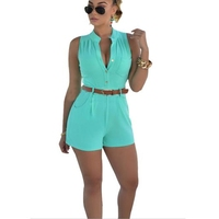 2018 Summer Sexy Playsuit Women Casual Slim Jumpsuits Rompers Short Sleeve Bodycon Playsuit One Piece Women