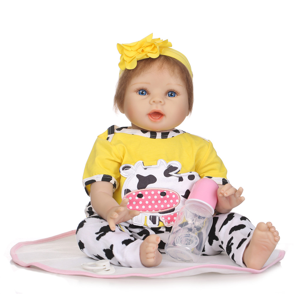 Stylish 22 Inch Real Lifelike Reborn Babies Cloth Body Newborn Princess Girl Dolls Children Birthday Xmas GiftStylish 22 Inch Real Lifelike Reborn Babies Cloth Body Newborn Princess Girl Dolls Children Birthday Xmas Gift