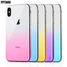 phone Case For iPhone 7 8 XR 6 6S Plus XS Max For iPhone X XS 6 7 8 Clear TPU Gradient Anti-fingerprint Ultra-thin phone Bag matte anti fingerprint soft tpu case for iphone 6s 6 4 7 inch black