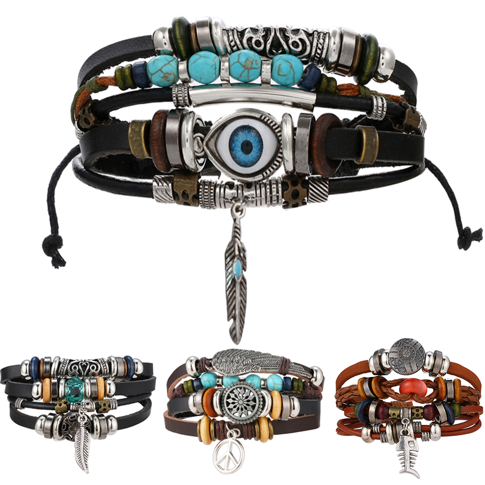 FAMSHIN BOHO Tibet Stone Feather Multilayer Leather Bracelet Eye Fish Charms Beads Bracelets for Men Vintage Punk Wrap Wristband