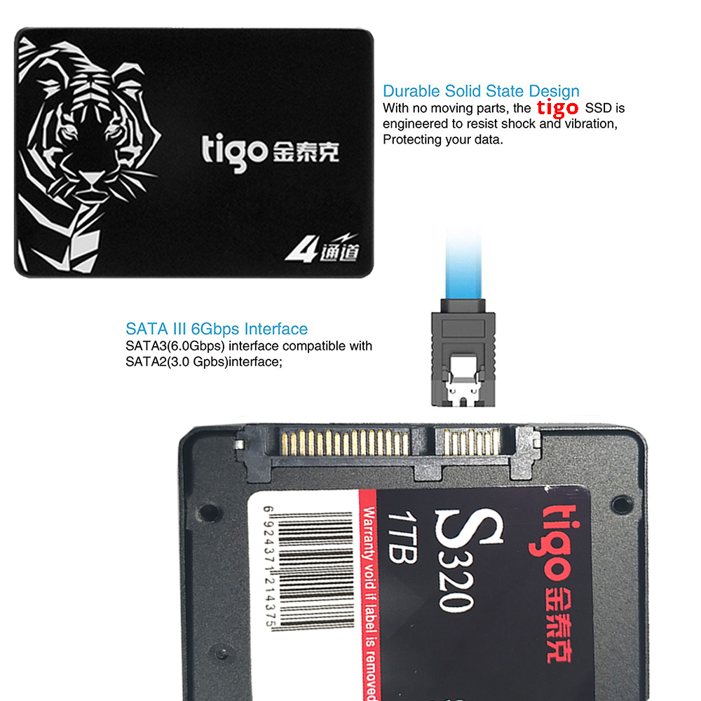 Image 5 - Tigo ssd 1tb hdd 2.5 polegada sata 1024 gb grande capacidade  interna unidade de estado sólido 6 gb/s para desktop computador portátil  s320 sataiiiUnidades de estado sólido internas