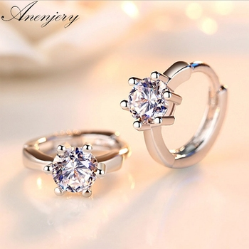Anenjery 925 Sterling Silver Earrings Six Claw Zircon Heart Arrow Round Stud Earrings For Women Best Gift S-E184
