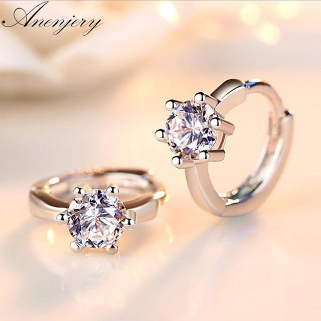 c6e481f4d05 US $4.12 |Anenjery 925 Sterling Silver Earrings Six Claw Zircon Heart Arrow  Round Stud Earrings For Women Best Gift S E184-in Stud Earrings from ...