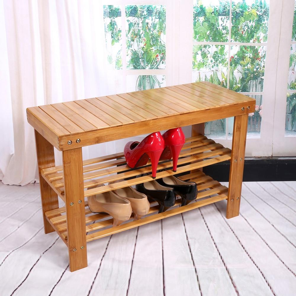Free Shipping 2 Tier Solid Wood Shoe Cabinet Nan Bamboo
