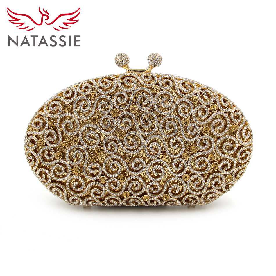 NATASSIE Luxury Women Clutch Designer Evening Bags Party Clutches Ladies Wedding Crystal Bag With Chain Female Purse natassie new design luxury crystal clutch women evening bag gold red ladies wedding banquet party purses good quality