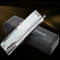 Chromatic Harmonica 16 Hole 64 Tune Swan Silver Reed Mouth Harp Professional Playing Armonica Gift Music