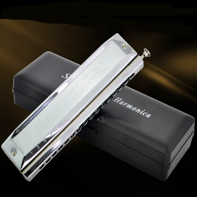 Swan Chromatic Harmonica 1664 Silver reed Mouth Harp Professional Playing Armonica Music Instrument Chromatic Harmonica 16 holes swan chromatic harmonica 16 hole 64tune golden professional harp instrumentos chromatic square mouthpiece thicken the cover