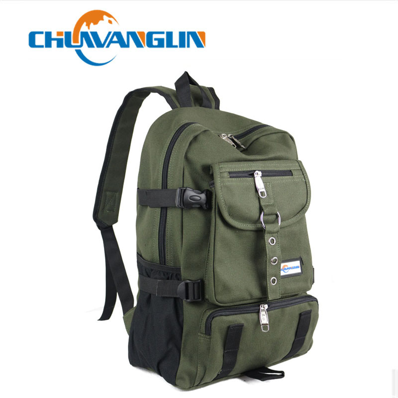 Chuwanglin Fashion Leisure Men's Backpack Designer Travel Bag Strap Zipper Solid Color Casual Canvas Backpack School Bag ZDD5194