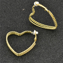 Ear clip without piercing Earrings for women wholesale Fashion Jewellery female gold silver Three heart shape Youth student girl