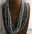 Wedding Woman Jewelry 24'' 60cm 7 Strands Gray Black Read Pearl Necklace Natural Freshwater Pearl Handmade