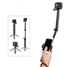 for Go Pro SJCAM 3-Way Grip Selfie Stick Waterproof Monopod Tripod Mount for GoPro Hero 7 6 5 4 Session Xiaomi Yi 4K Accessories(China)