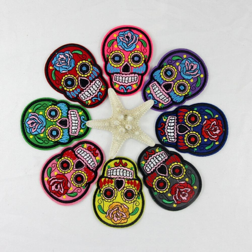 Clothing Diy Embroidery Iron On Patch Gray Skeleton Skull Grim Badge Punk Goth